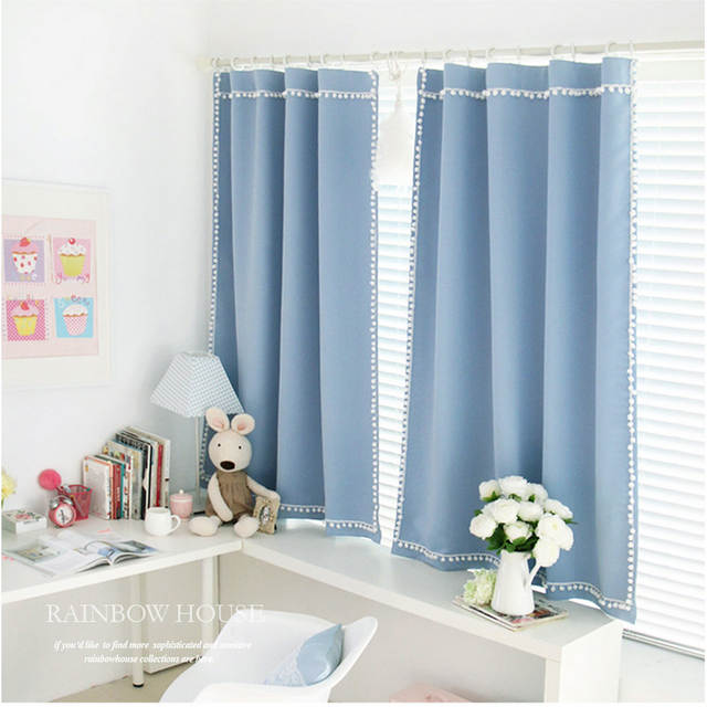 US $29.5 41% OFF|RZCortinas Blackout Curtains for Living Room Blue Curtains  for Bedroom Korean Style Curtain Home Decor Drapes Window Blinds 1PC-in ...