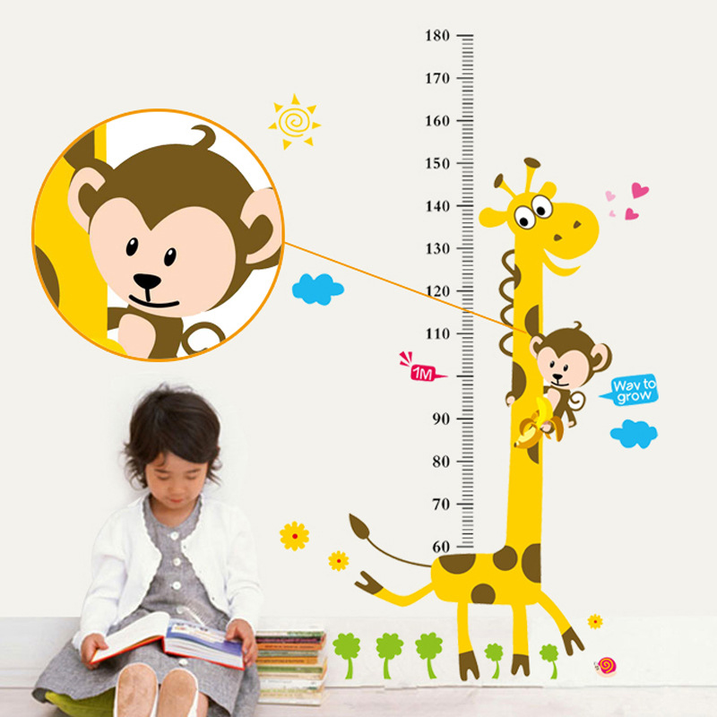 DIDIHOU Christmas Cartoon Height Measure Wall Stickers For Kids Room Giraffe Monkey Height