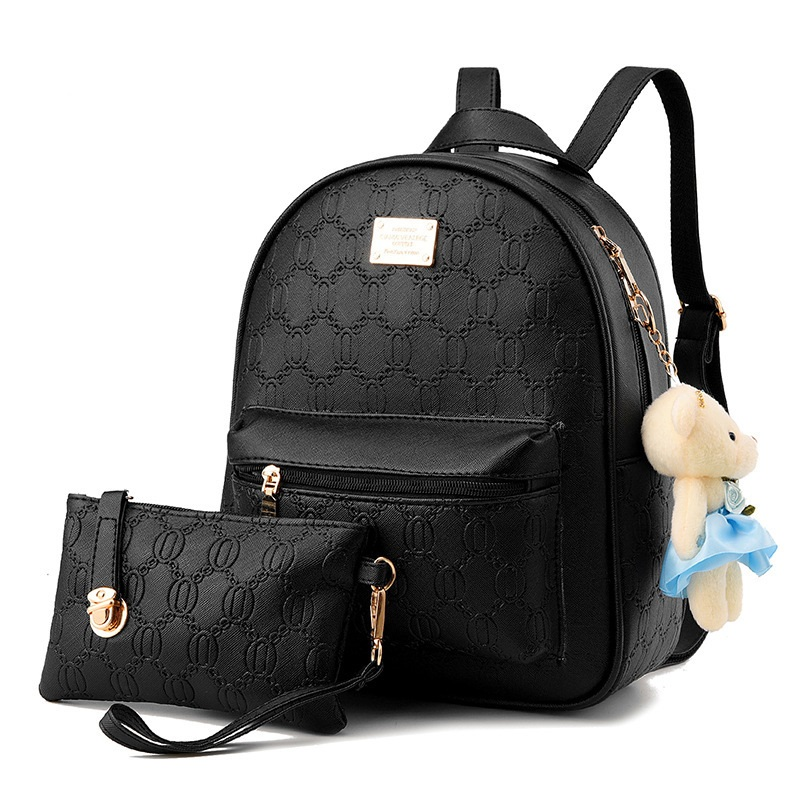 Women Backpack High Quality Leather Casual Large Capacity School Bags for Teenager Girls Top-handle Female Bear Pendant Backpack цена