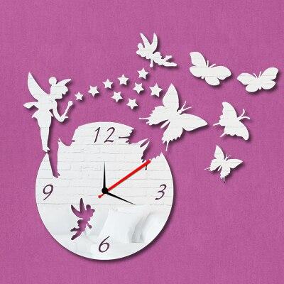 New 2016 3D Acrylic Mrror Wll Clock Angel Watch Wall Sticker Reloj ...