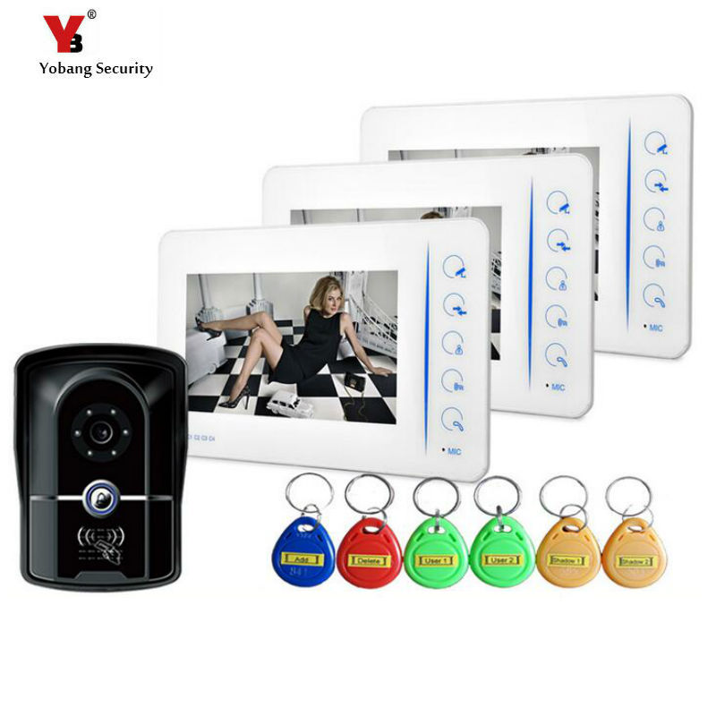 Yobang Security Touch Key Video Camera Door Phone 7 Video intercom 92 degree widen viewing angle electronic eye doorbell phone