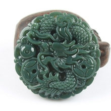 Natural Real HETIAN Stone Pendant Carved Chinese Dragon Lucky pendants Amulet Pendant Necklace Fashion Jewelry Free Rope