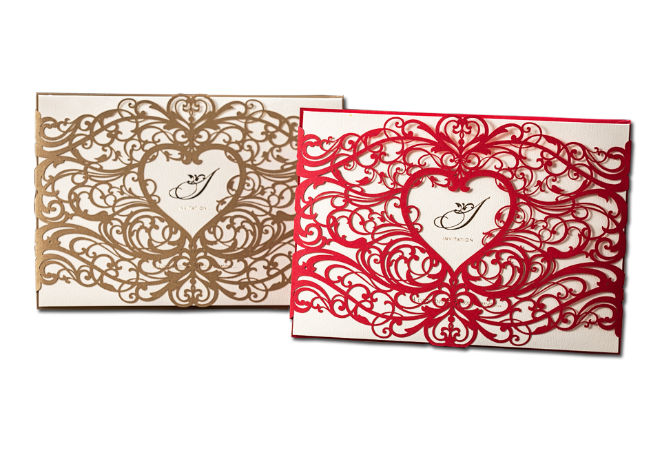 Us 1 15 Sweet Heart 1pcs Gold Red Laser Cut Wedding Invitations Cardstock With Envelope Blank Birthday Party Greeting Card Paper In Cards