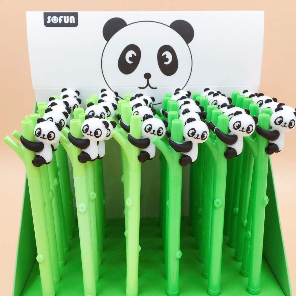 36pcs/pack 0.5mm Black Ink Creative Cartoon Bamboo Panda Gel Pen/student Prize Promotion Gift Unisex Sign Pen36pcs/pack 0.5mm Black Ink Creative Cartoon Bamboo Panda Gel Pen/student Prize Promotion Gift Unisex Sign Pen