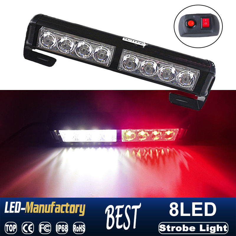 CYAN SOIL BAY 8 LED Car Emergency Warning Traffic Advisor Strobe Light Bar Grill Red White 12V Lamp 8LED Flash 9inch 23CM