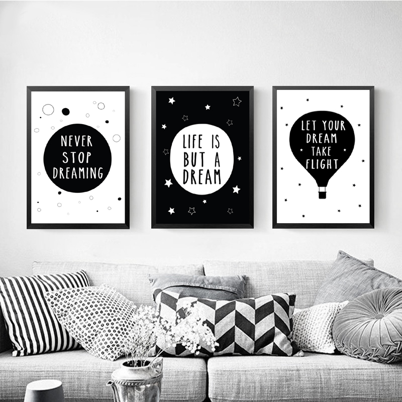Dream Series Canvas Art Print Poster, Wall Picture for Decoration, English Words Hot Balloon Quote Poster