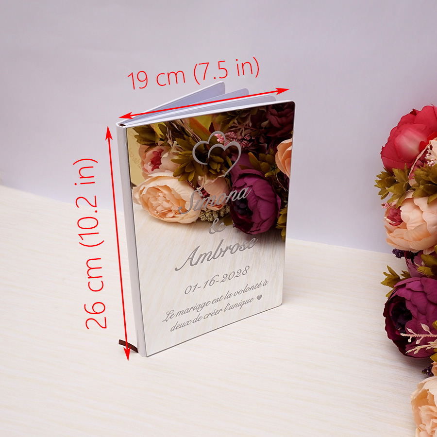 26x 19cm Custom Love Heart Wedding Signature Guest Book Personalized Mirror Front Cover Bride Groom Party Decor Favors Gift