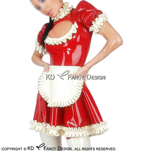 Red With White Sexy French Maid Latex Dress With Apron High Collar Zipper Back Rubber Dress Uniform Playsuit Bodycon LYQ-0125
