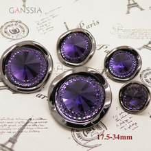 10pcs/lot Stylish steepletop design purple rhinestone button Resin shank button for garment Sewing accessories(ss-4828)