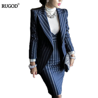 Rugod 2018 Autumn Suit Dress Office Women Jacket Blazer Dress Suits Female Long Sleeve Jacket+ Knee Length Dress Office Clothes