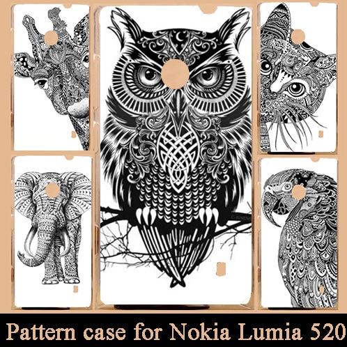 Nuevo patrón de dibujos animados blanco y negro animales teléfono móvil funda de patrón duro para Nokia Lumia 520 funda de plástico