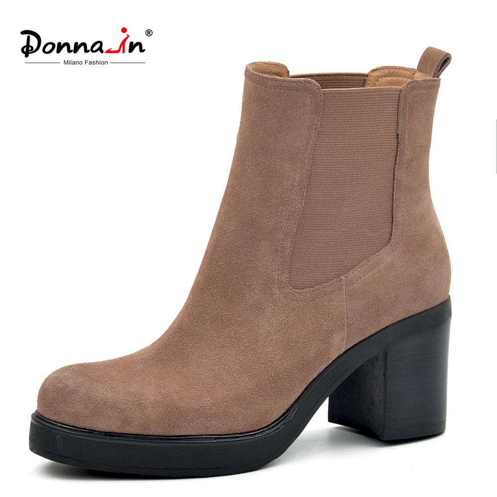 Donna in 2019 Spring Women Boots Genuine Leather Ladies Shoes Platform High Heels Chelsea Ankle Boots