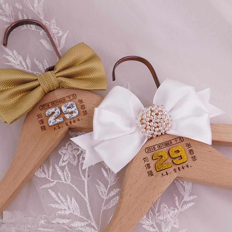 2 pièces lot personnalisé nom mariage proposition mariage jour fête décoration photo prop robe mariée marié personnalisé en bois cintre
