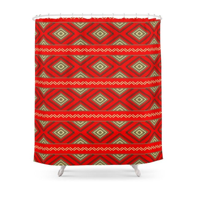 Tribal 6 Ethno Ethnic Aztec Navajo Pattern Boho Chic Shower Curtain Waterproof Bathroom Polyester Fabric