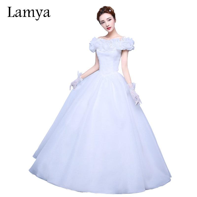 Lamya princess simple boat neck elegant vintage wedding for Simple vintage wedding dresses