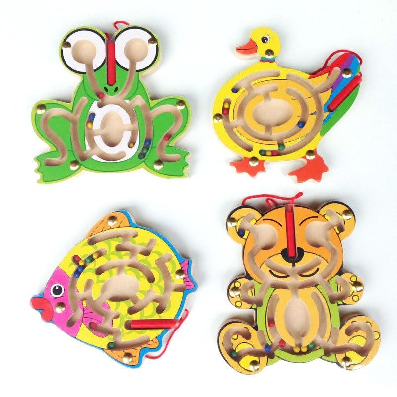 Free shipping Anak-anak Kayu awal katak / Itik / Bear / Ikan mainan - Teka-teki - Foto 2