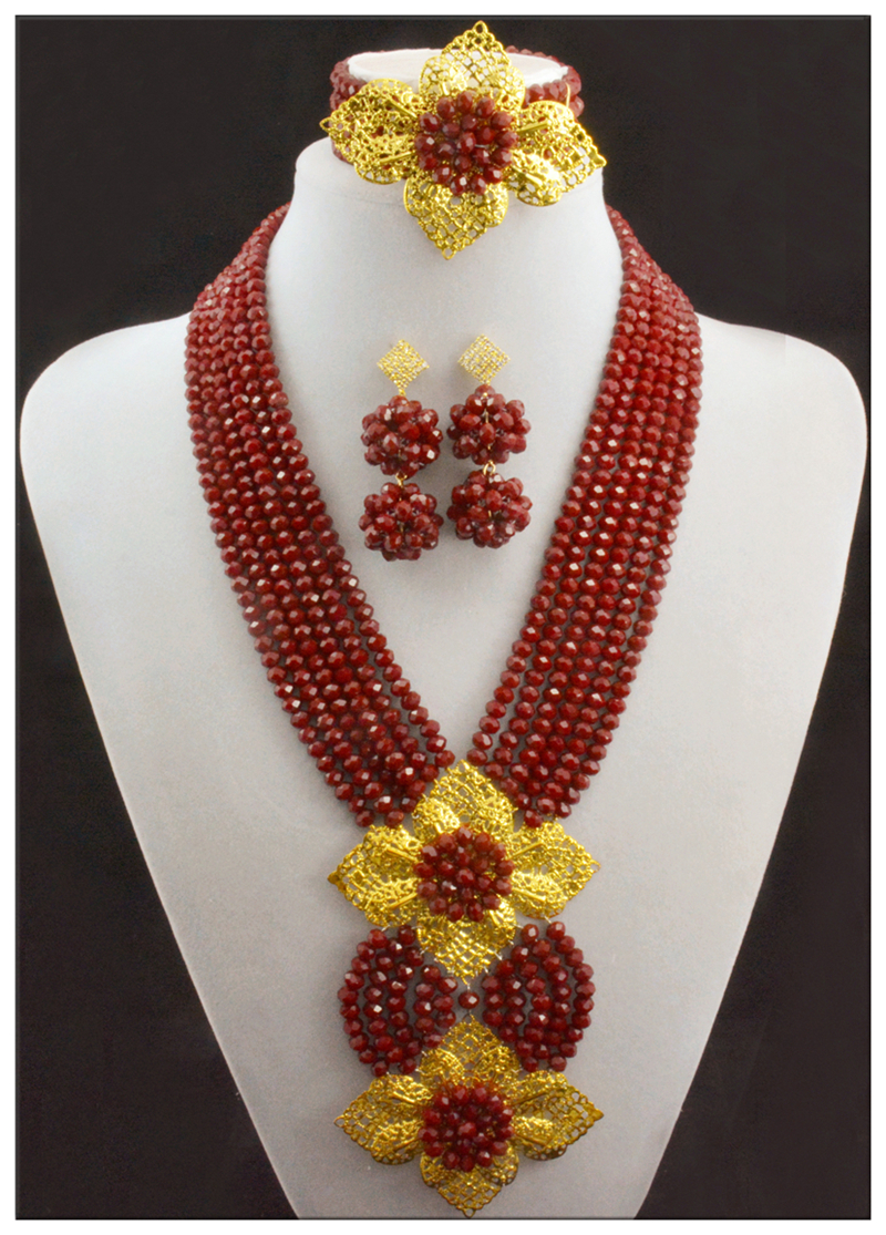 Colorful Red African Beads Jewelry Sets Nigerian Wedding