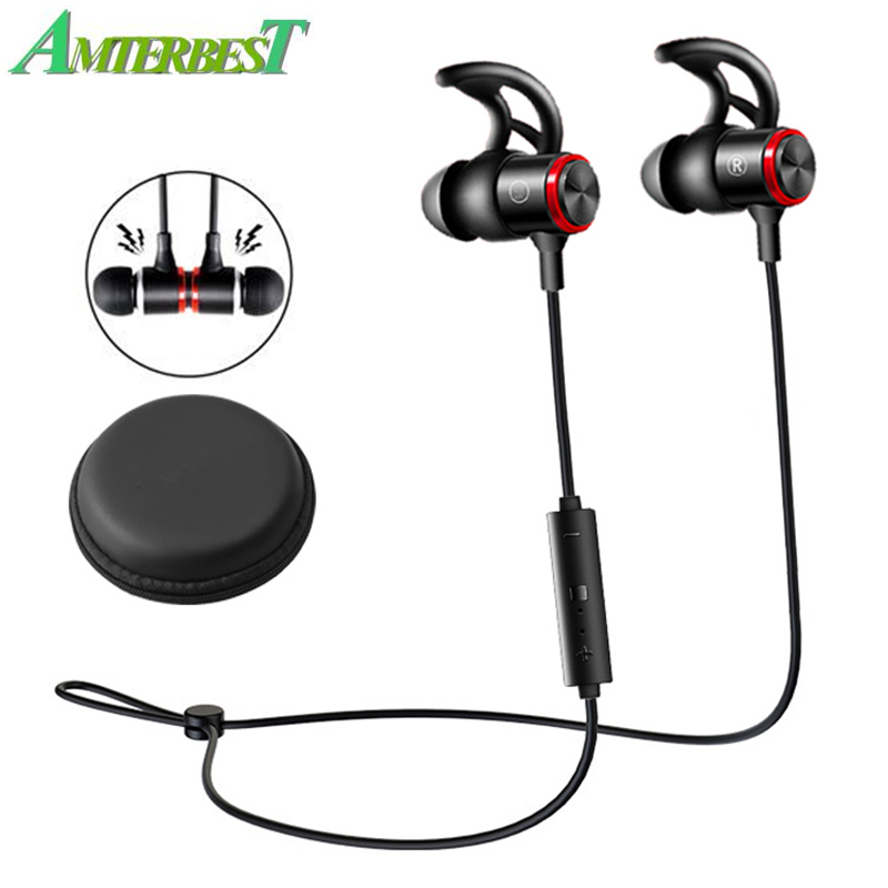 AMTERBEST E3B Wireless Bluetooth V5.0 Headphone Stereo Earphone Magnetic Neckband Sports Bass Headset for IOS Android Phones