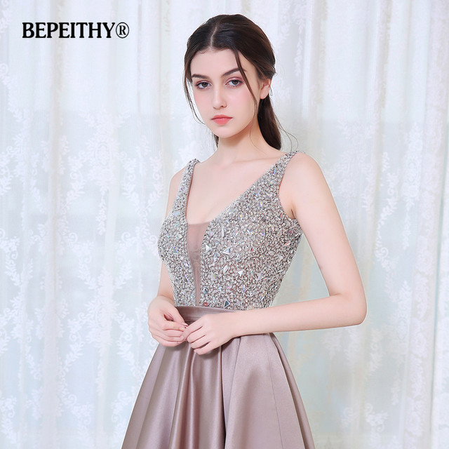 BEPEITHY V-Neck Beads Bodice Open Back A Line Long Evening Dress Party Elegant Vestido De Festa Fast Shipping Prom Gowns 4