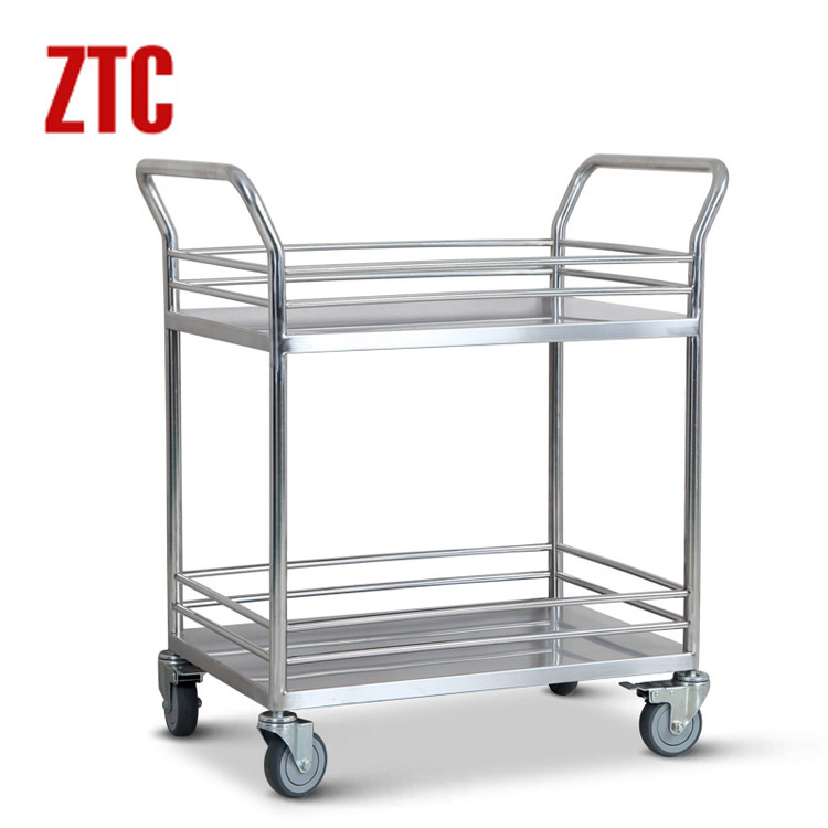 Us 1600 Laboratory Double Layer Trolleystainless Steel Handcartrolling Lab Trolley Stock Cart With Wheels Rcs 0211 In Laboratory Furniture From