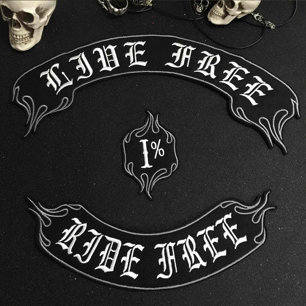 LIVE FREE Iron On Patch Embroidered Applique Sewing Label punk biker Patches Clothes Stickers Apparel Accessories Badge