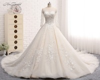 2017 New Arrival Princess Big Ball Gown Wedding Dresses Long Deep V-Neck See Through Back Beaded 3D Floral Tulle robe de mariage