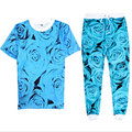 Newest Fashion Mens/Womens Blue Rose 3D Printed Shirts+Joggers Pants EMOJI Casual Sweatpants Unisex Hip hop 2 piece casual Suit