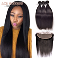 7A Indian Virgin Hair Straight Lace Frontal Closure With Bundles Ear To Ear 13x4 Lace Frontal Closure With Baby Hair ACE Hair