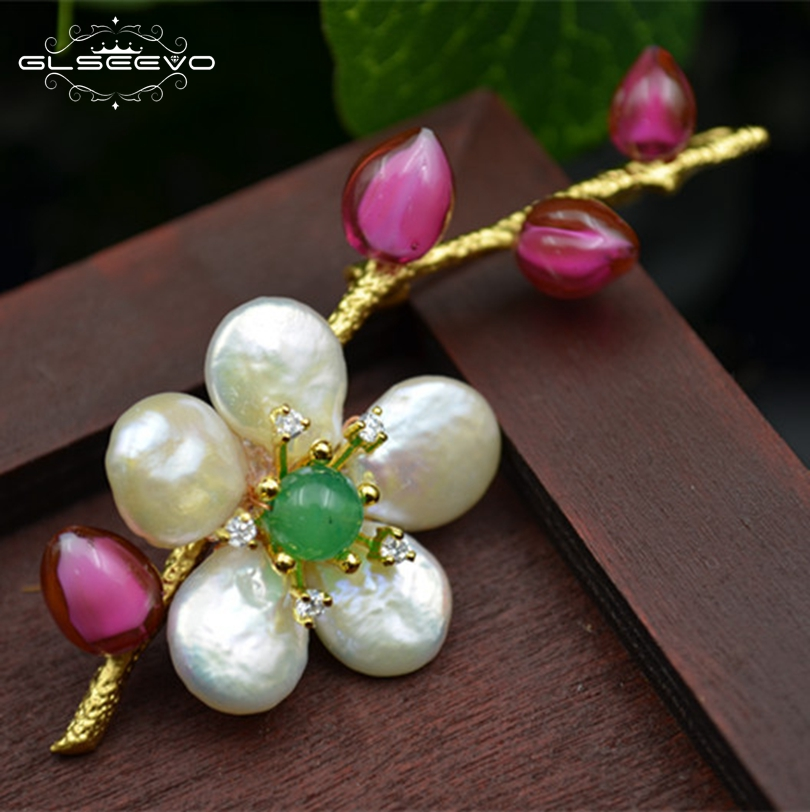 все цены на GLSEEVO Natural Fresh Water Baroque Pearl Flower Brooch For Women Glaze Pins And Brooches Dual Use Luxury Fine Jewelry GO0126 онлайн