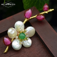 GLSEEVO Natural Fresh Water Baroque Pearl Flower Brooch For Women Glaze Pins And Brooches Dual Use Luxury Fine Jewelry GO0126