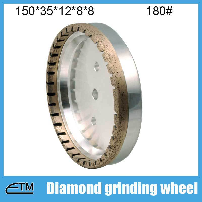 half segmented 10pcs 2# glass edge grinding wheel metal bond grinding tools 150*35*12*8*8 grit 180# BL007