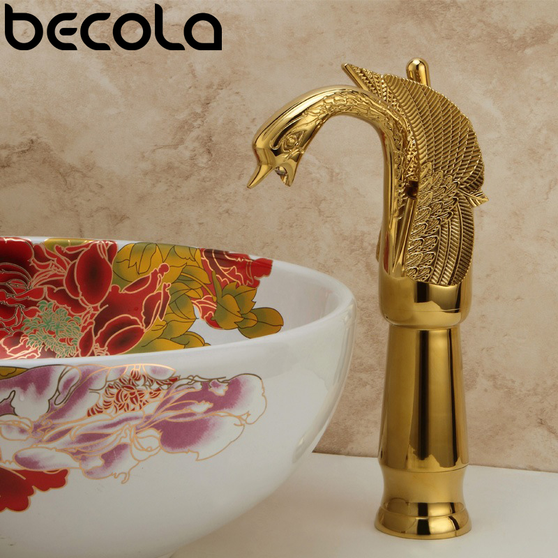 Free Shipping beautiful swan shaped hot and cold water basin faucet deck mounted bathroom gold brass sink mixer tap LH-8145 : 91lifestyle