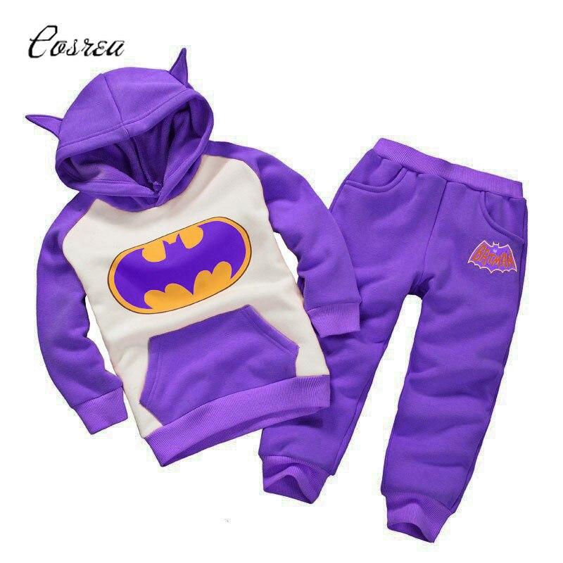 Batman Costume Children Hoodie+pants 2 Pcs Suits Spring Autumn Baby Boys Girls Clothing Sets Fashion Kids Clothes Matching Suit
