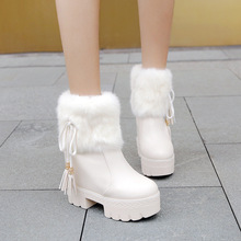 2019 New thick platform Inside high Women Shoes Fashion plush Suede ankle boots for women  High-heeled winter