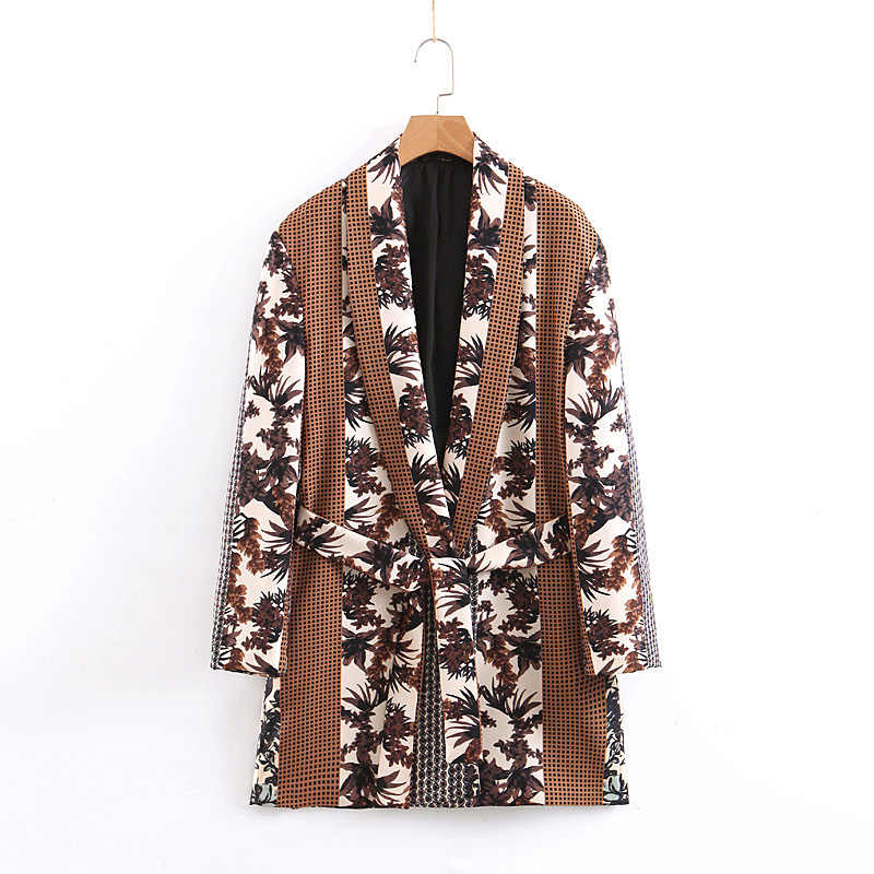Plaid Leafs Printed Jacket Women Fashion Long Sleeve Cardigan Jacket Women Elegant Tie Belt Waist Jacket Coats Female Ladies EW0