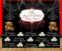 Custom Black Silver Royal Prince Teddy Bears Chandelier Baby Shower background Computer print party photo backdrop