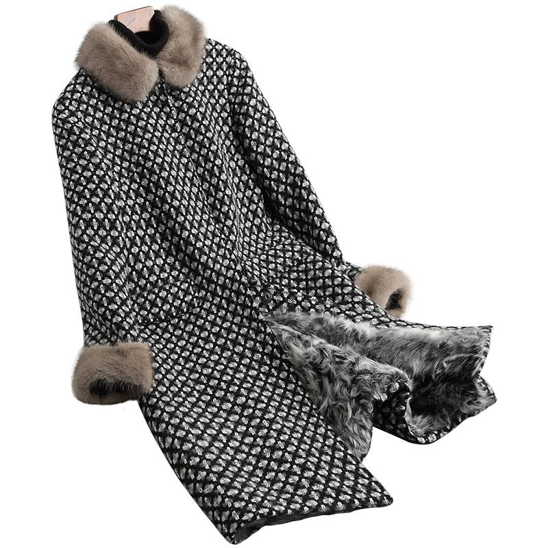 Lady Real Wool Blend Fur Coat With Mink Fur Collar Lamb Fur Lining Winter Women Fur