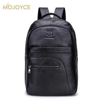 BULLCAPTAIN Solid Color Travel Backpacks Men Genuine Leather Large Rucksack Travel Backpack Youth Casual Fashion Large Capacity