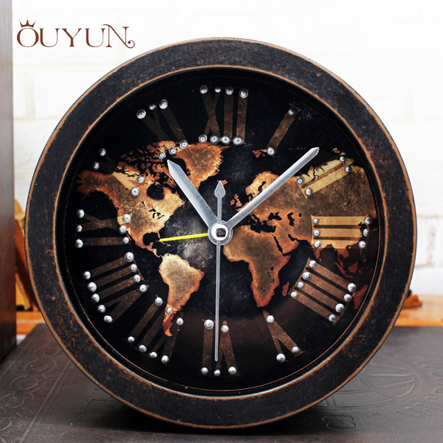 Ouyun new european world map desktop clock retro small wooden alarm ouyun new european world map desktop clock retro small wooden alarm clock living room bedroom mute gumiabroncs Choice Image