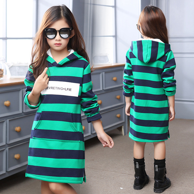 2016 New Girls hot sale  stripe Hoodies Clothes Children's Sweatshirts baby  Casual Kids Plus velvet Hoodies Tops  Sweaters & Ho