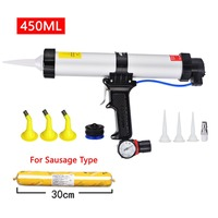 450ml Sausage Caulk Gun Air Pneumatic Sealant Manual Glass Caulking Gun Silicone Pistol Tools Set with Watch Nozzle Valve New