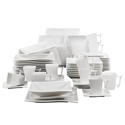 MALACASA FLORA 60-Piece White Porcelain Dinner Set with 12*Cup,Saucer,Dessert Soup Dinner Plate Dinnerware Set Service 12 Person