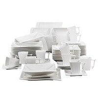 MALACASA Serie Flora 60 Piece White Porcelain Dinner Set with 12 Piece Cup, Saucer, Dessert Soup Dinner Plates Service 12 Person