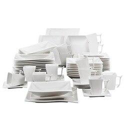 MALACASA Serie Flora 60 Stück Weiß Porzellan Abendessen Set mit 12 Stück Tasse, Untertasse, dessert Suppe Abendessen Platten Service 12 Person