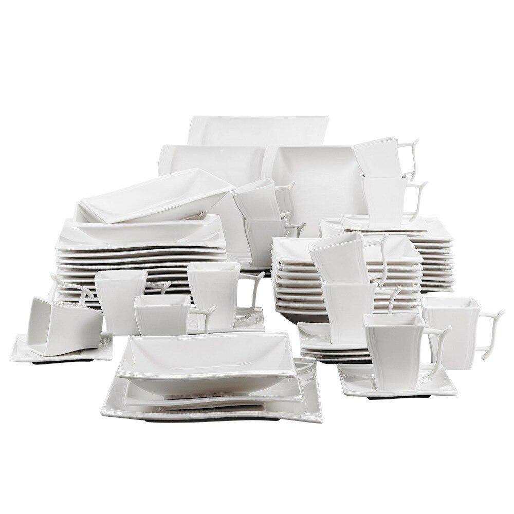Malacasa serie flora 60 peça porcelana branca jantar conjunto com 12 pedaço copo, pires, sobremesa sopa jantar pratos serviço 12 pessoa