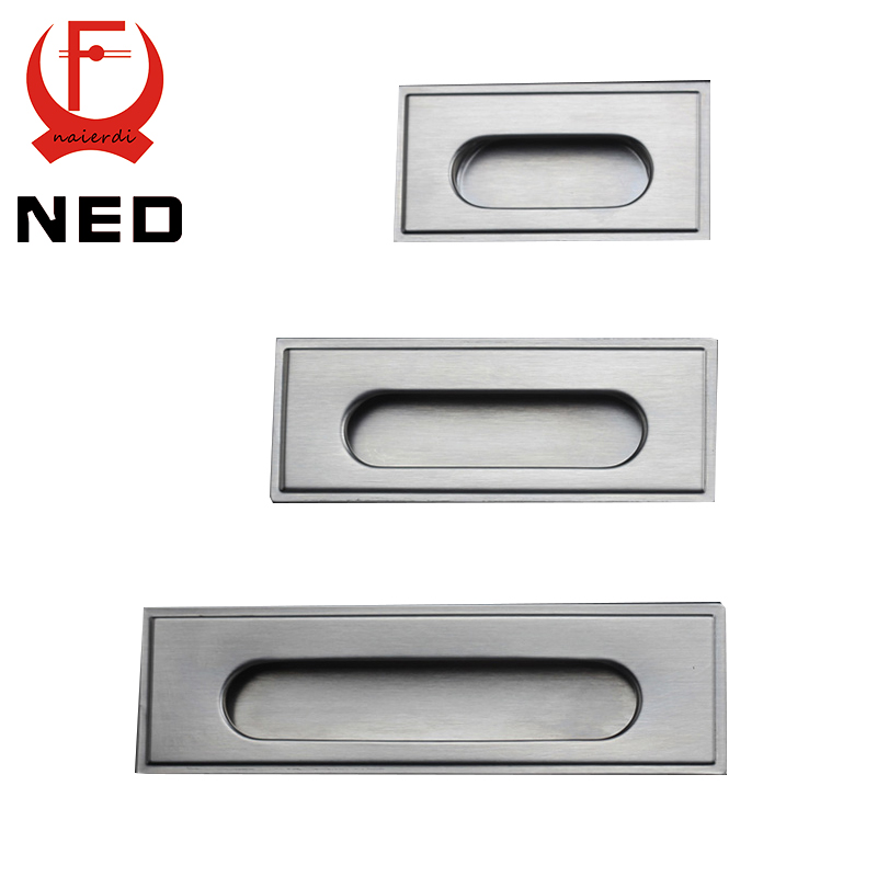 NED 96mm Cabinet Hidden Handles Stainless Steel Invisible Handle Circle Drawer Wardrobe Knobs With Screws For Furniture Hardware
