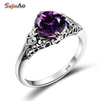 Szjinao Love Women Handmade Wedding Ring 925 Sterling Silver Purple Stone Turkish Rings Factory Direct Wholesale Christmas Gift