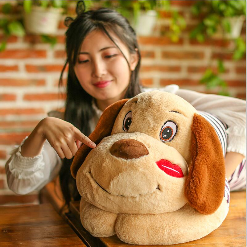 75cm super cute plush toy dog Lipstick dog pillow doll lying prone as gifts to friends and children with down cotton 40cm super cute plush toy panda doll pets panda panda pillow feather cotton as a gift to the children and friends