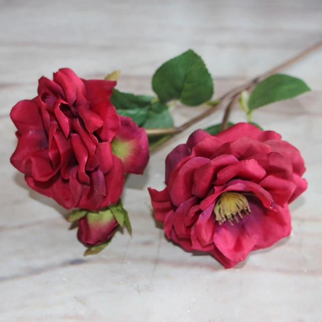 1 Pcs Real Vermelho Flores Artificiais Plantas Artificiais Enfeites
