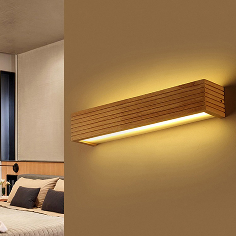 Nordic modern wall lamp creative wood wall light staircase bedside bathroom 10W6w8w led light sconce led wall lights lampade in LED Indoor Wall Lamps from Lights Lighting